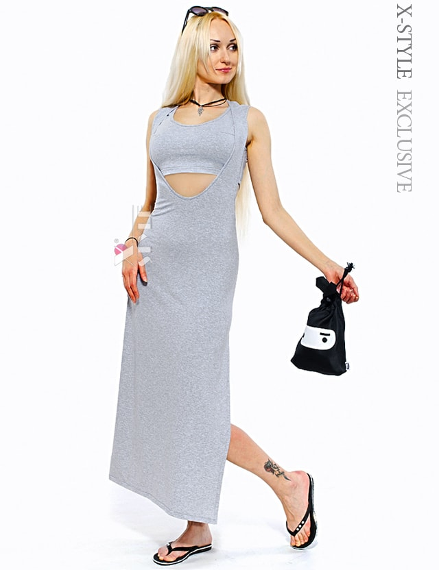 Длинное платье с глубоким вырезом X5136