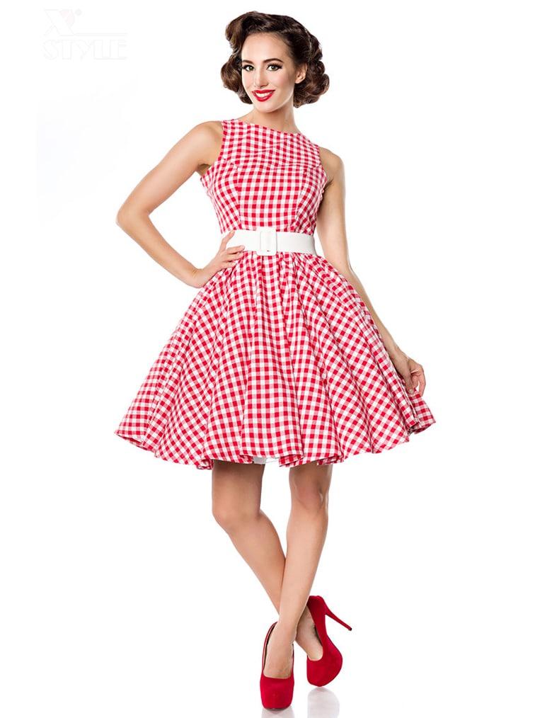 Винтажное платье в красную клетку, 5