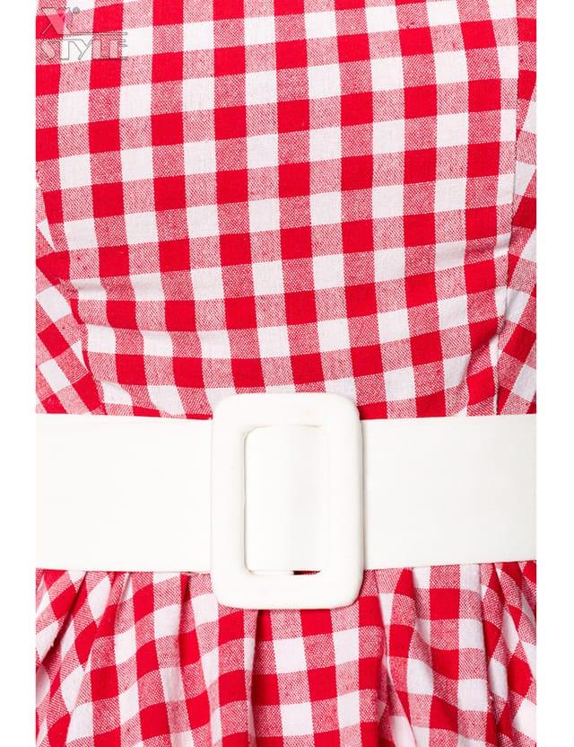 Винтажное платье в красную клетку, 3