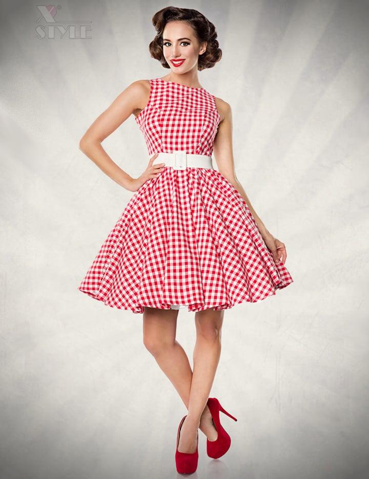 Винтажное платье в красную клетку