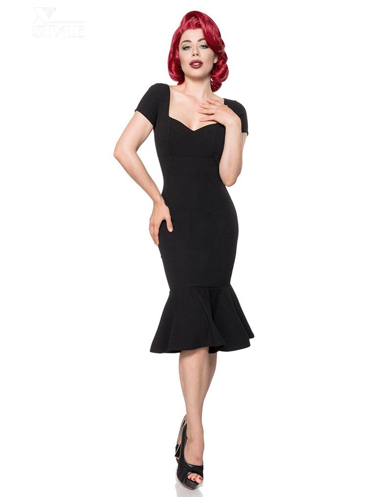 Черное ретро-платье с декольте B267, 5