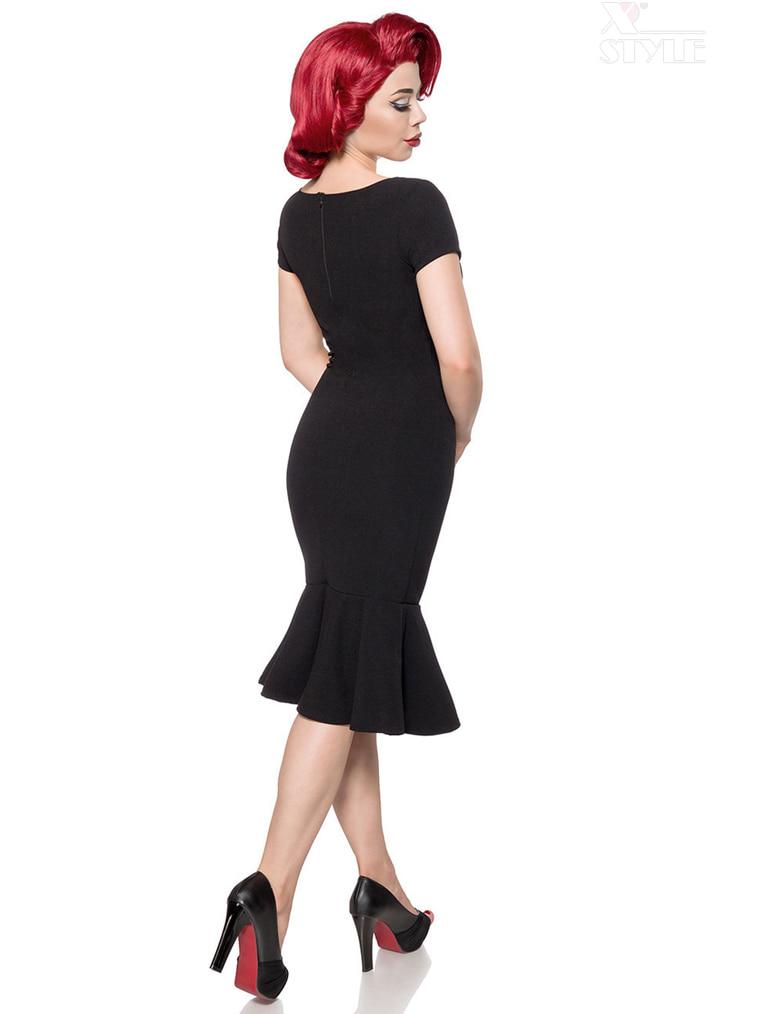 Черное ретро-платье с декольте B267, 3