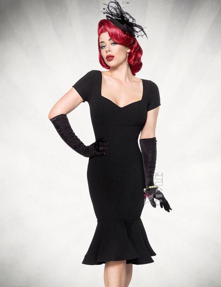 Черное ретро-платье с декольте B267, 9
