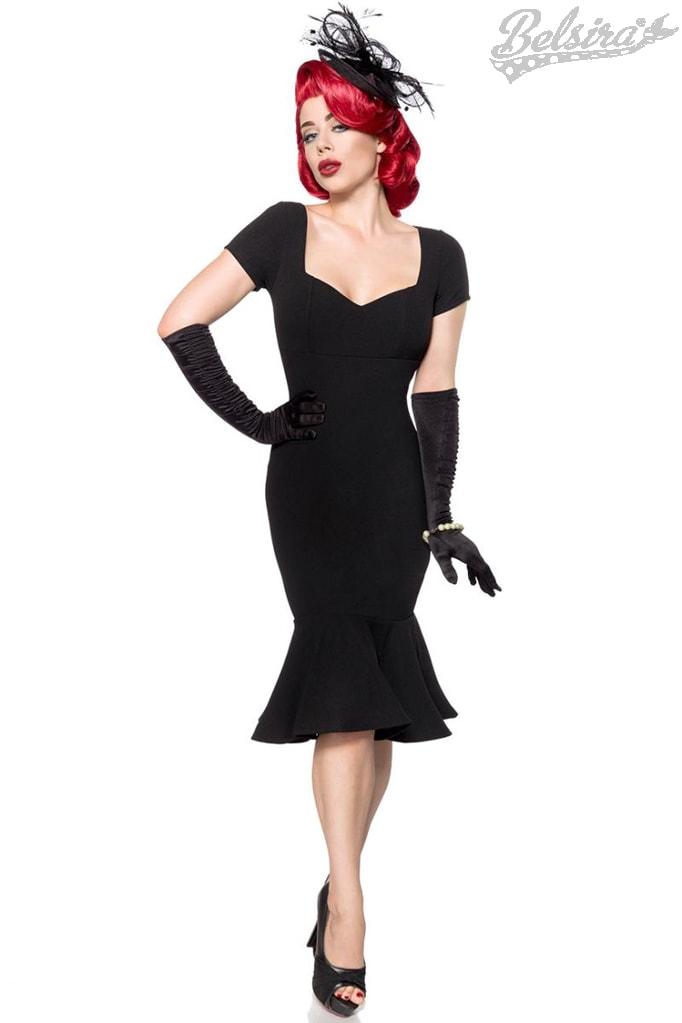 Черное ретро-платье с декольте B267
