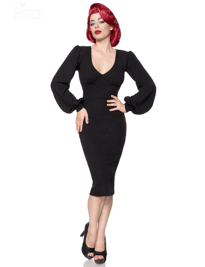 Облегающее черное ретро платье с широким рукавом B5268, 5
