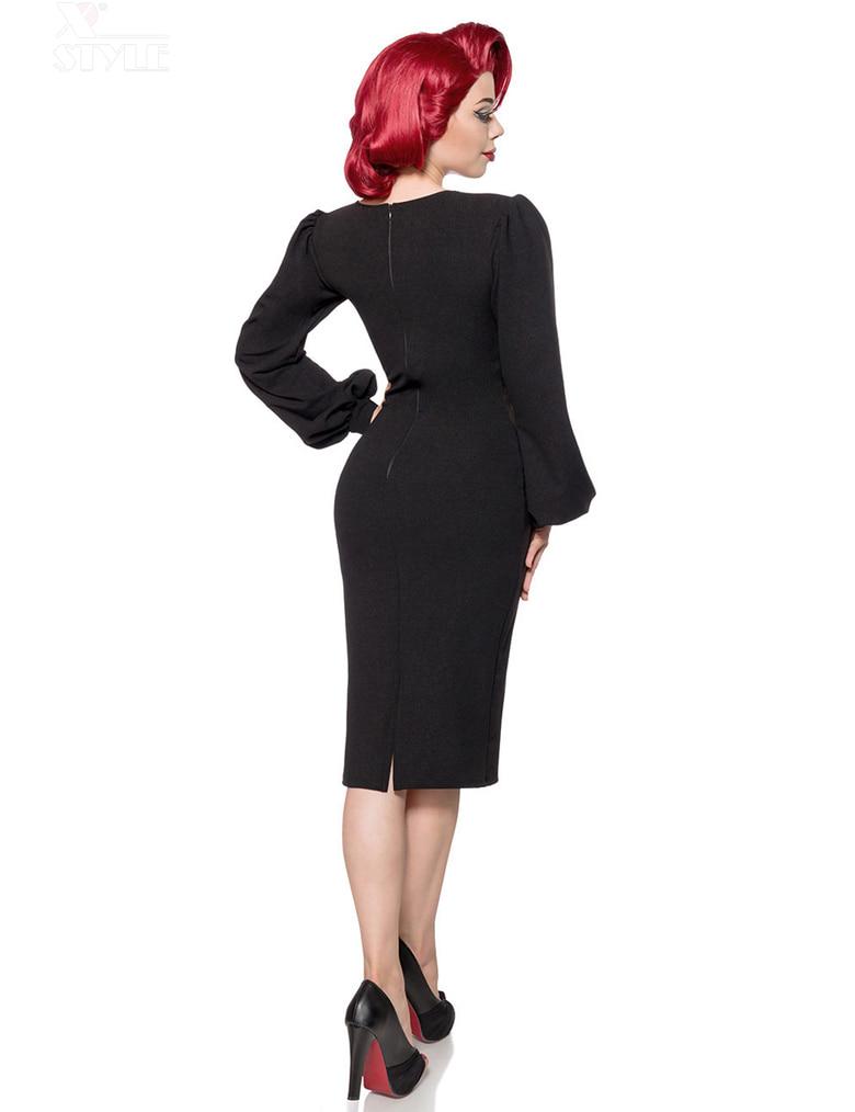 Облегающее черное ретро платье с широким рукавом B5268, 3