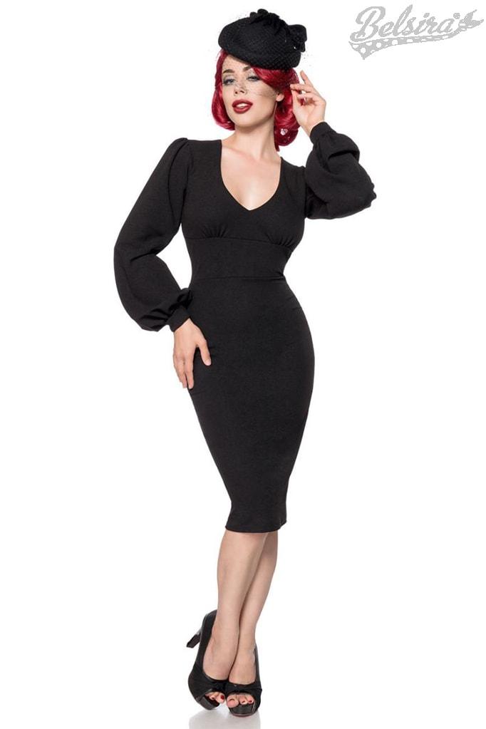 Облегающее черное ретро платье с широким рукавом B5268
