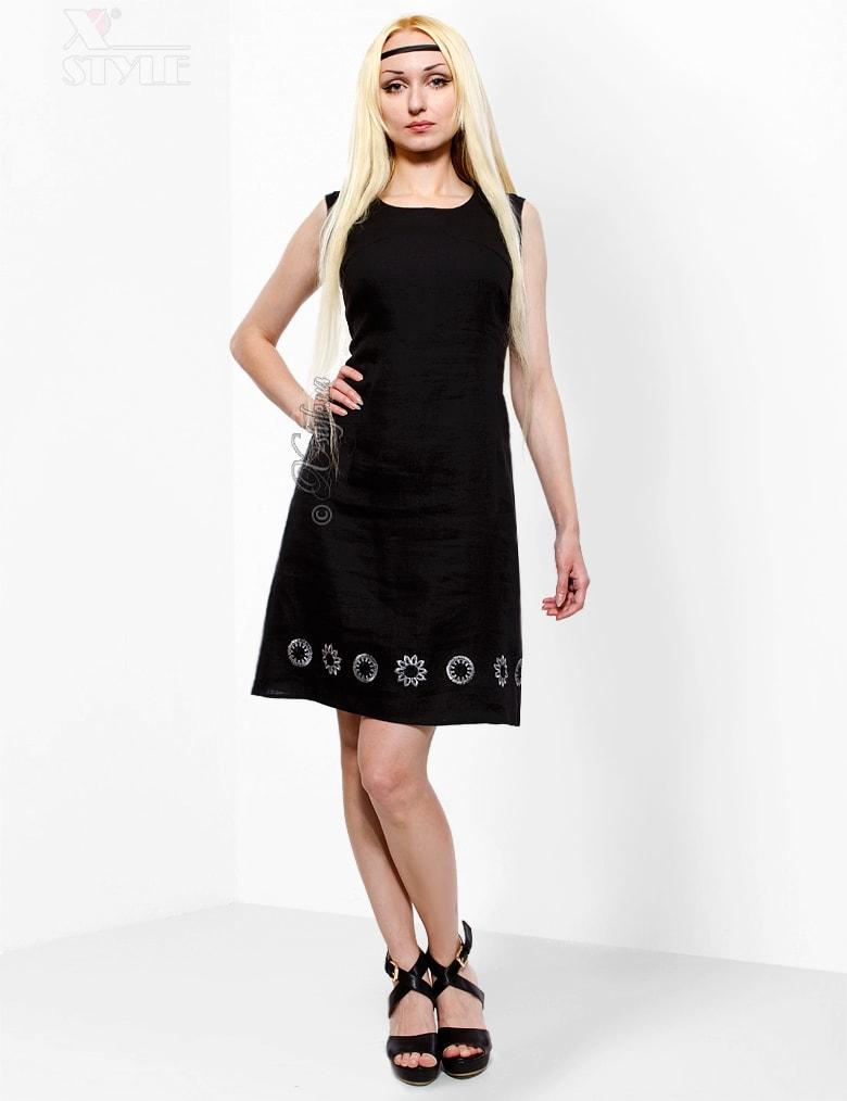 Льняное платье с вышивкой XT-130, 5