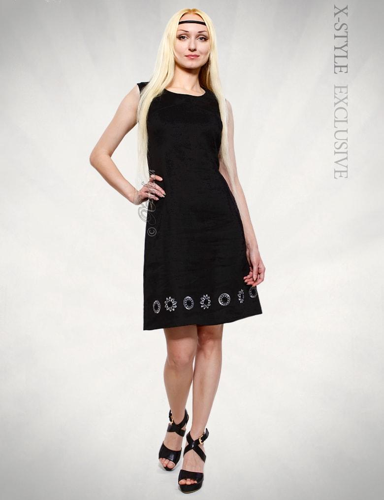 Льняное платье с вышивкой XT-130