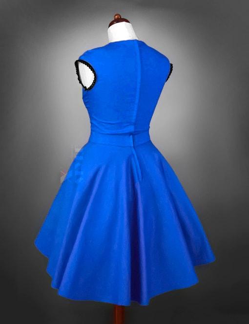 Винтажное платье с декольте и поясом, 3