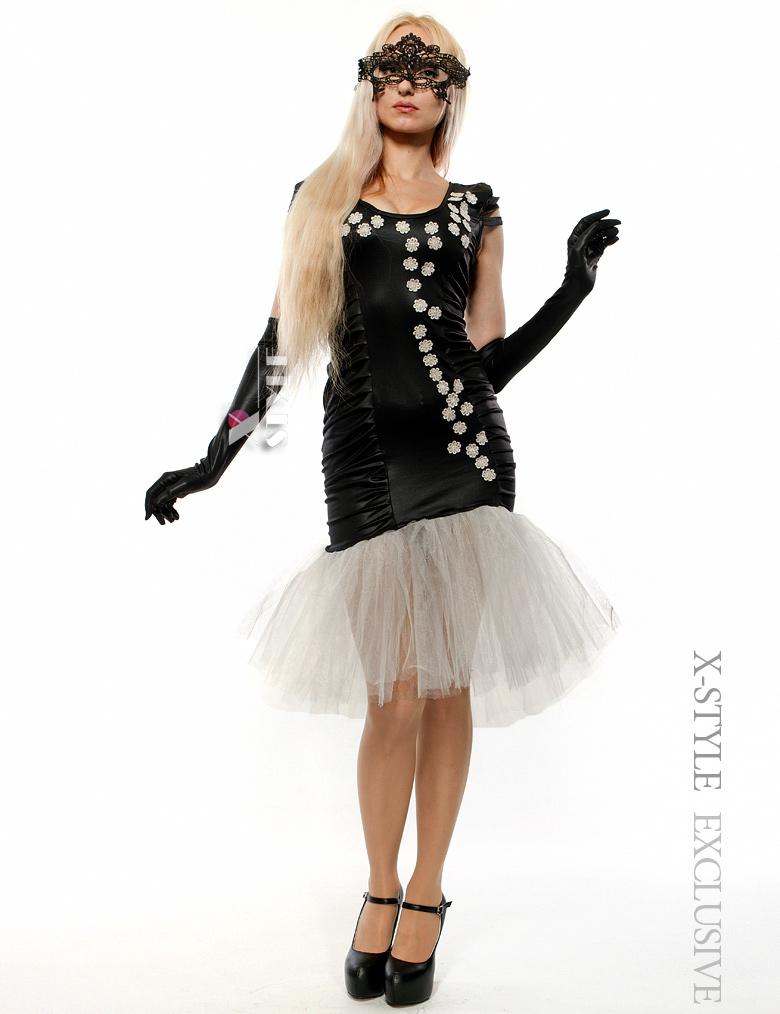 Вечернее платье с перчатками и вышивкой, 7