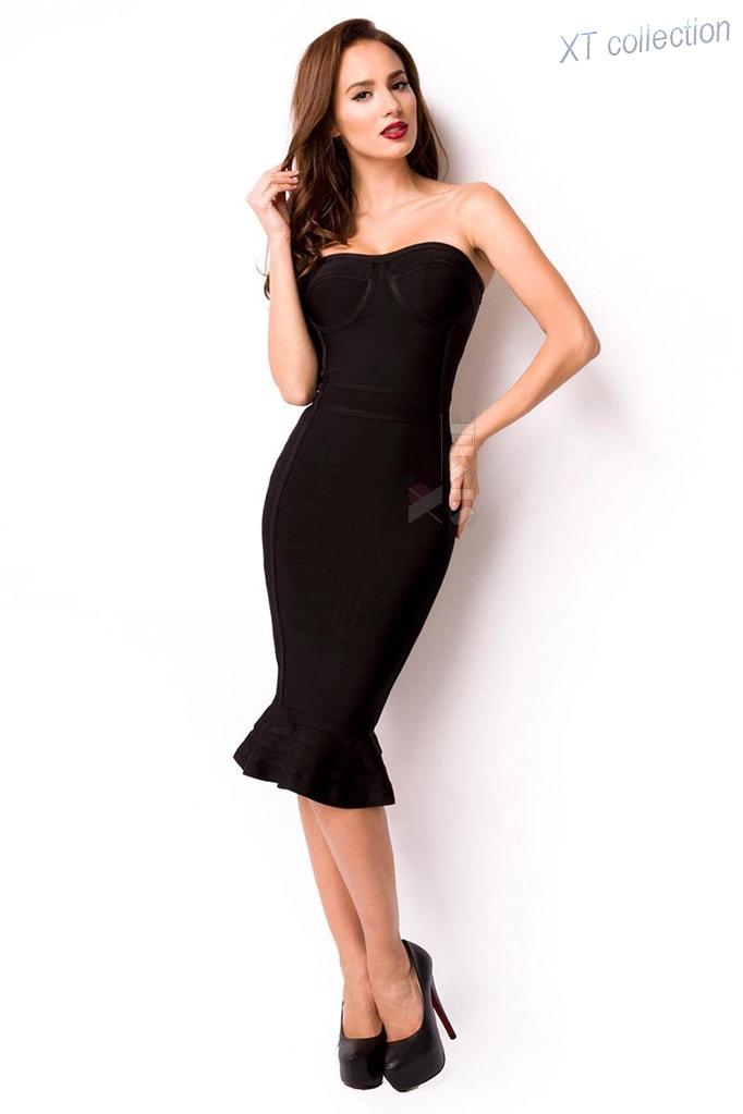 Бандажное платье XC5315 черное
