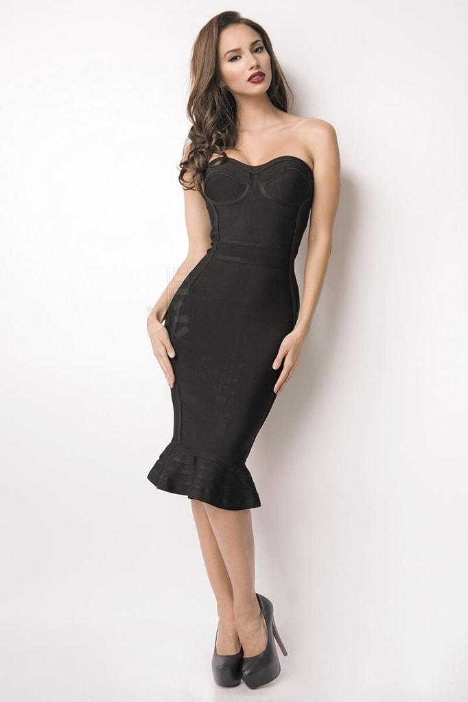 Бандажное платье XC5315 черное, 3