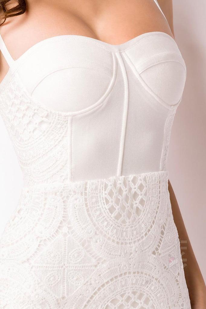 Бандажное белое платье миди XC5330, 5