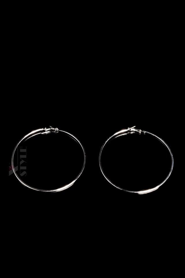Серебристые серьги-кольца (9 см), 7