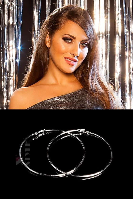 Серебристые серьги-кольца (9 см), 9