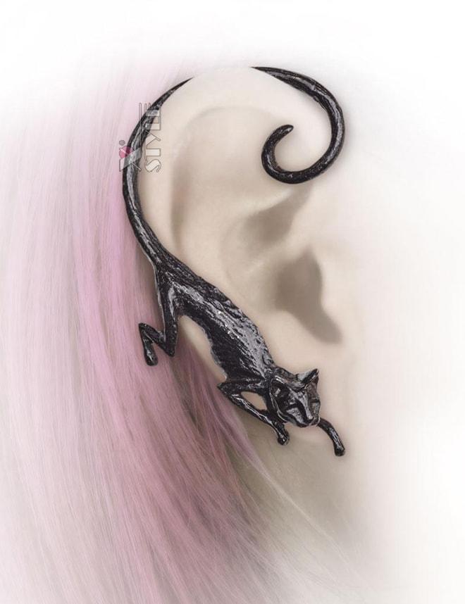 Черная серьга Cat Sith, 3