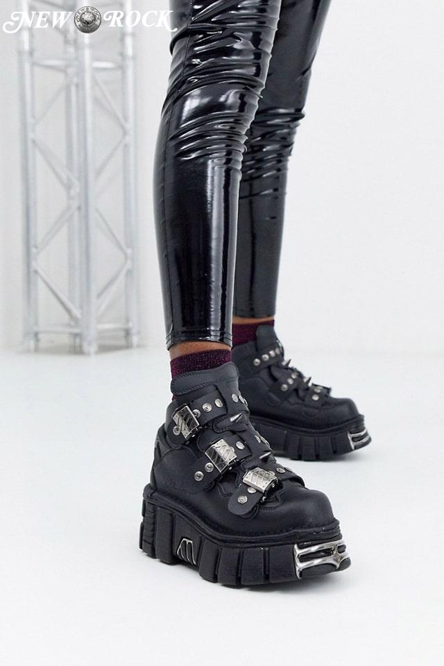 Кожаные кроссовки на платформе с шипами 135S1