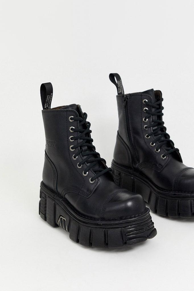 Черные кожаные ботинки на платформе NM083, 7