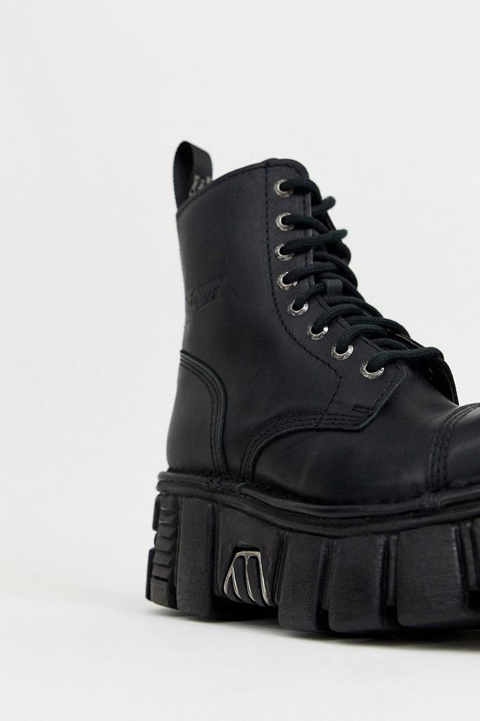 Черные кожаные ботинки на платформе NM083, 3