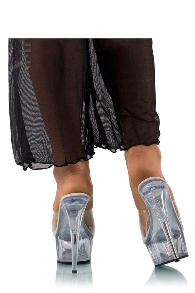 Прозрачные шлепанцы на высоком каблуке P1006, 3
