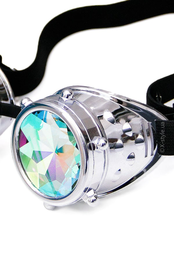 Фестивальные серебристые гогглы калейдоскоп XA5104, 9