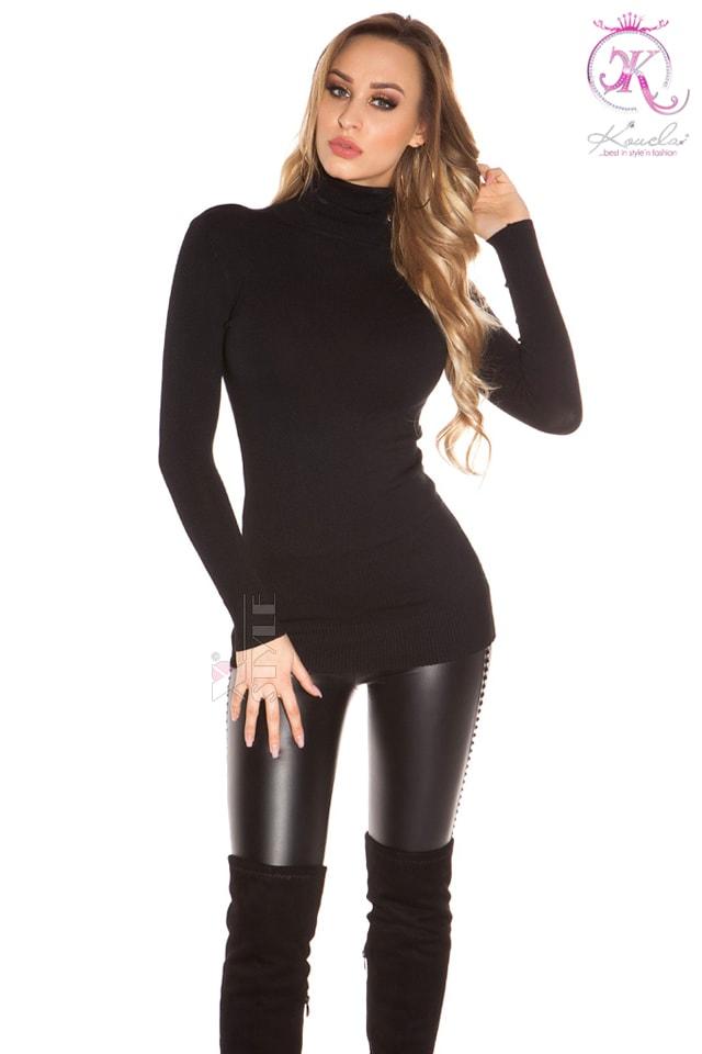 Черный свитер-туника KouCla