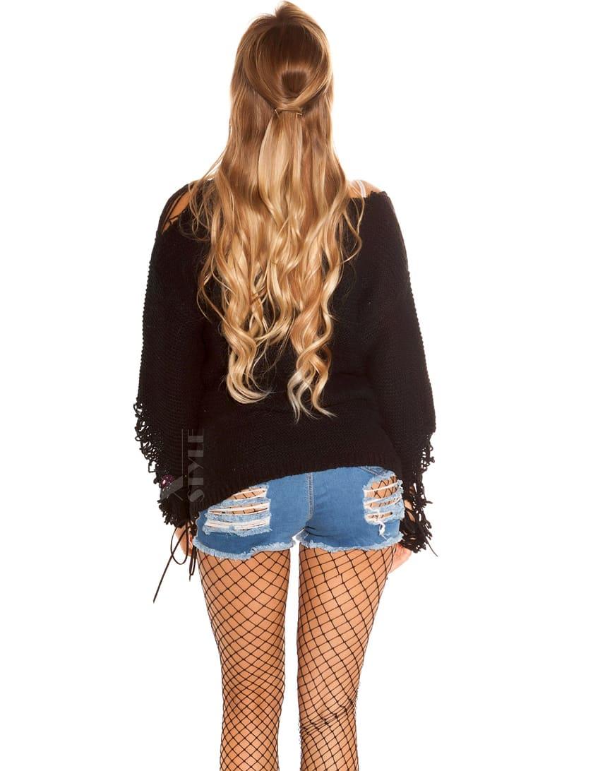 Рваный черный свитер Koucla , 3