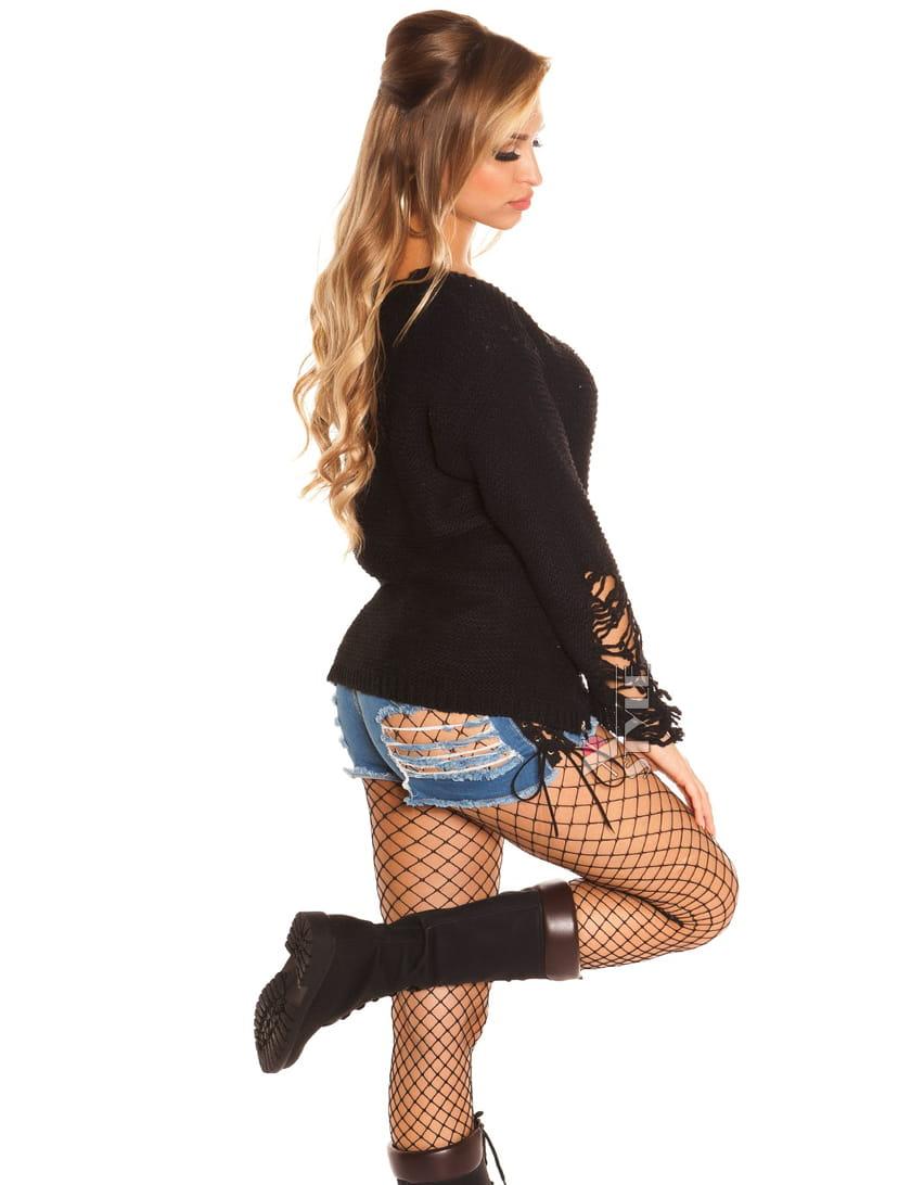 Рваный черный свитер Koucla , 5