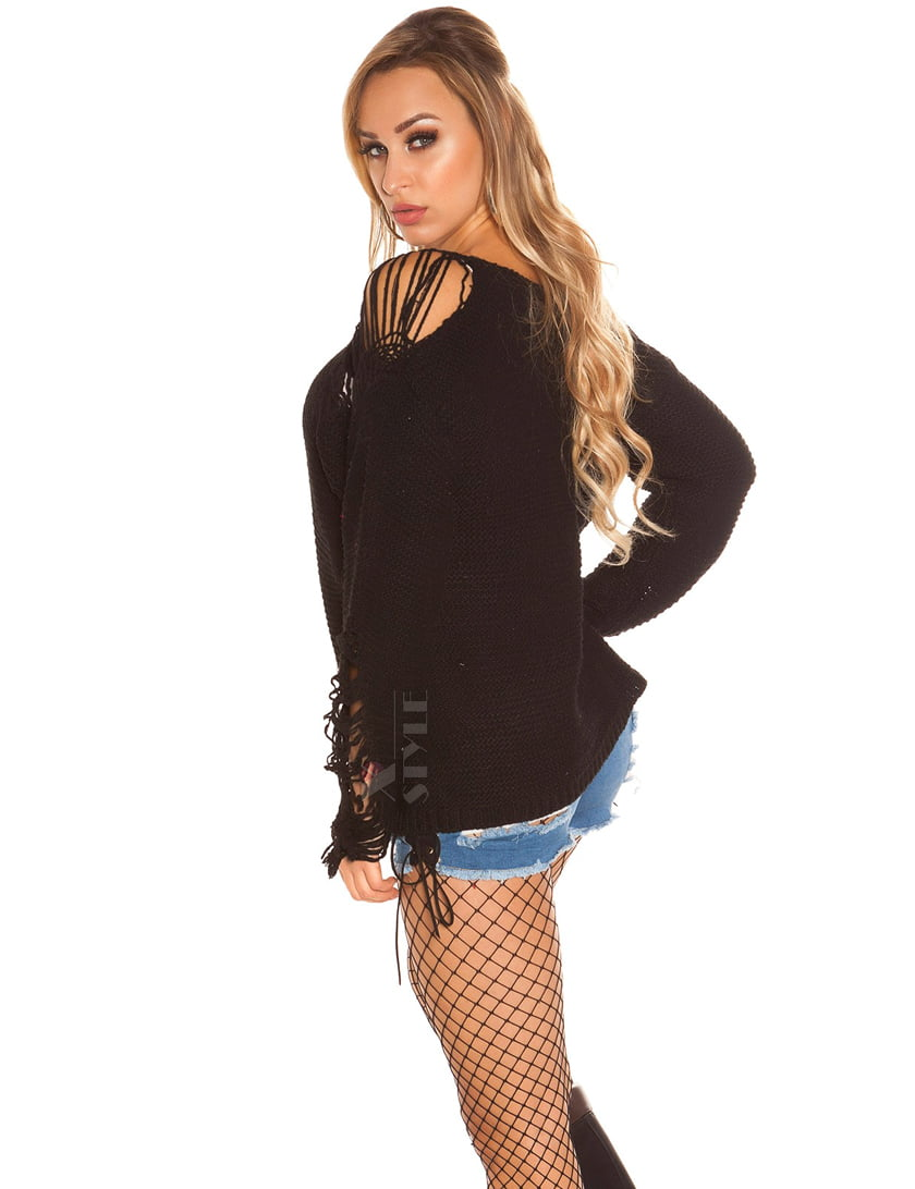 Рваный черный свитер Koucla , 11