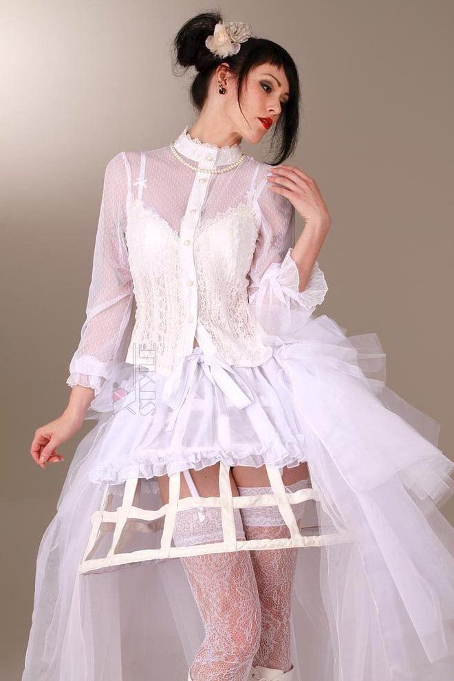 Каркасная белая юбка, 3