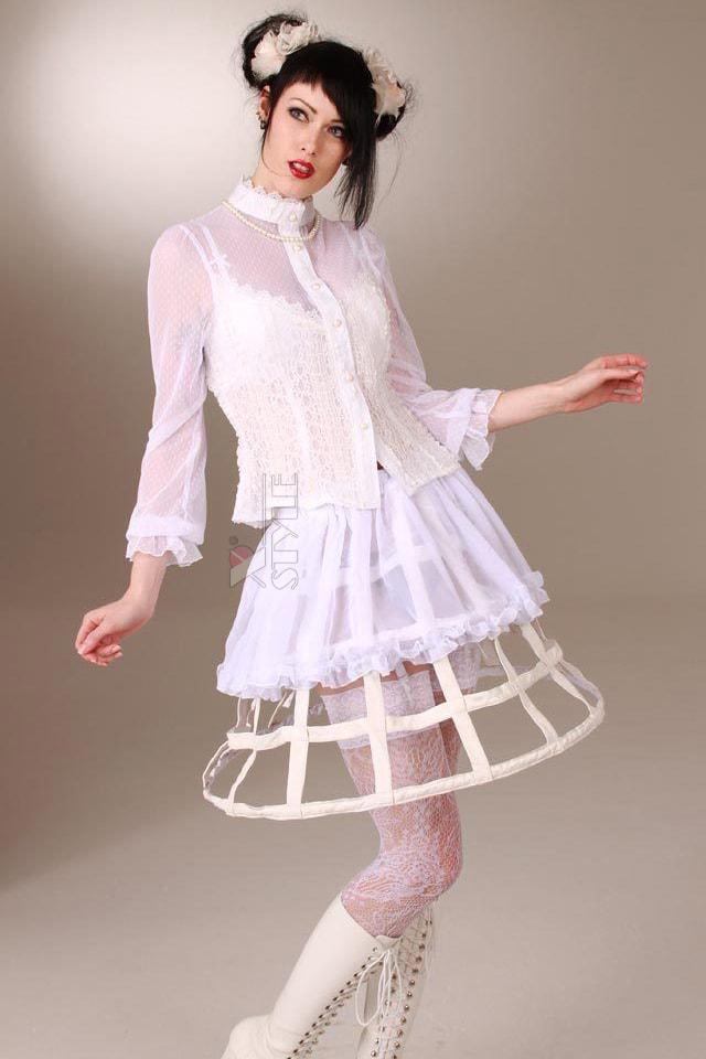 Каркасная белая юбка, 5