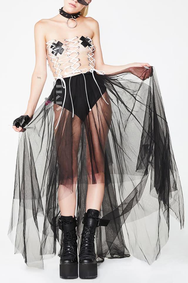 Длинная асимметричная юбка-пачка, 3