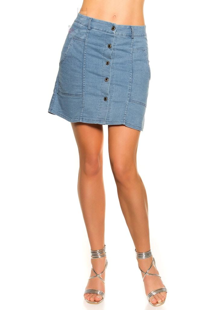 Джинсовая юбка с застежкой на кнопках KC173, 3