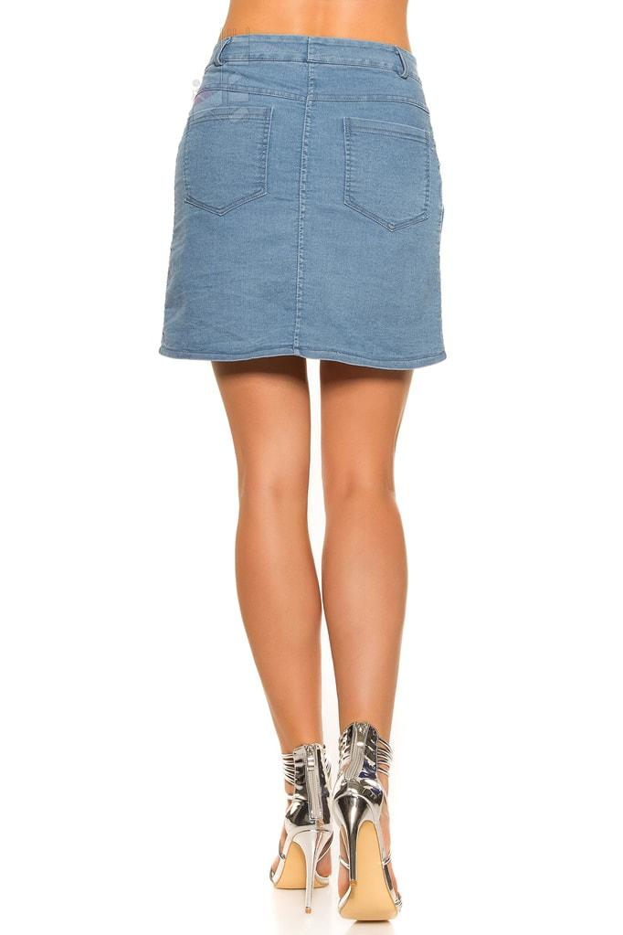 Джинсовая юбка с застежкой на кнопках KC173, 5