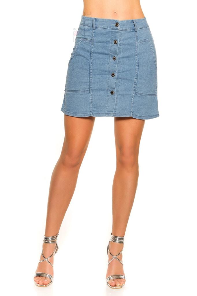 Джинсовая юбка с застежкой на кнопках KC173, 7