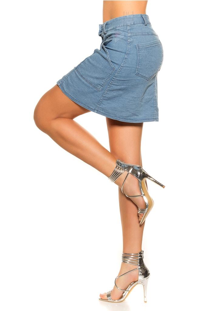 Джинсовая юбка с застежкой на кнопках KC173, 9
