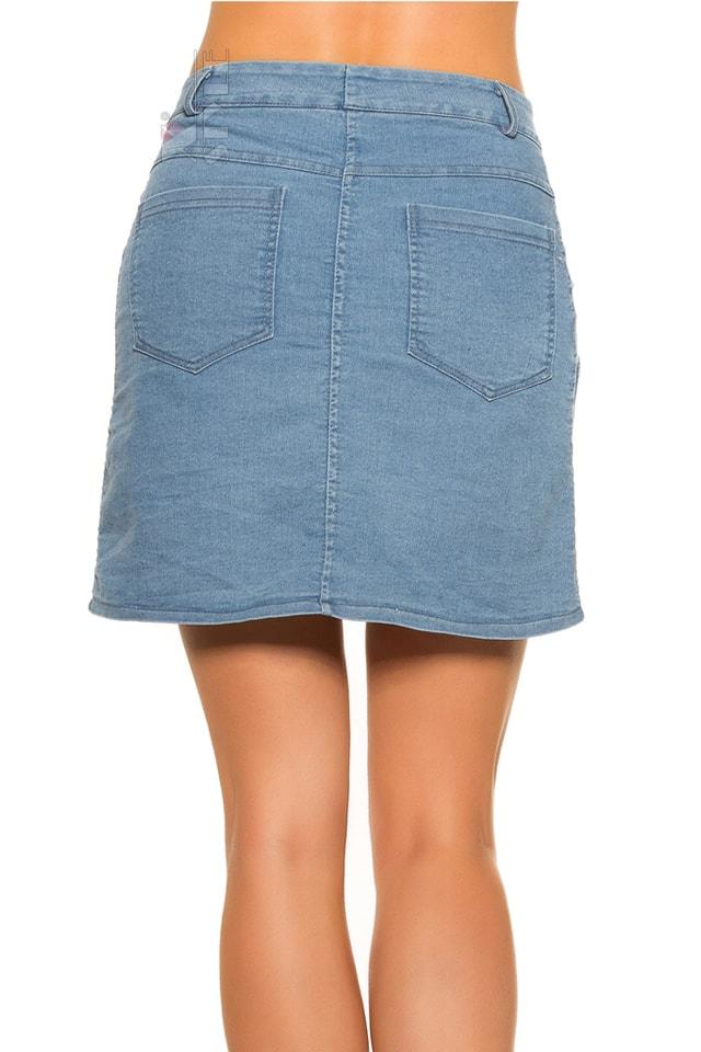 Джинсовая юбка с застежкой на кнопках KC173, 13