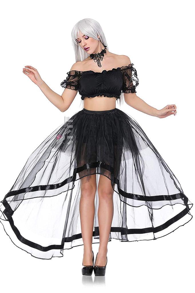 Прозрачная юбка со шлейфом CC7163, 5