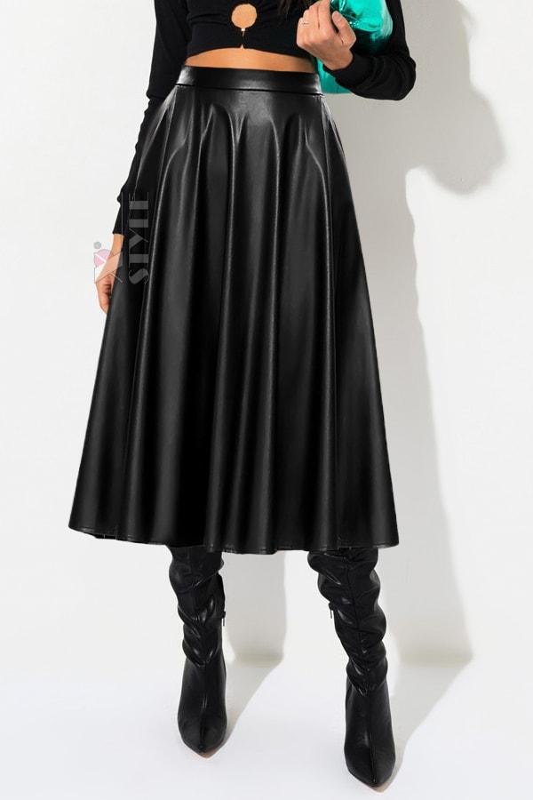 Черная кожаная юбка миди X7200, 5