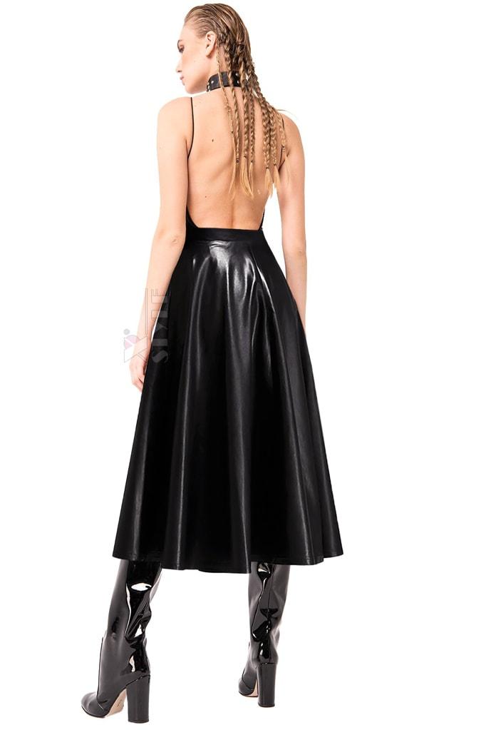 Черная кожаная юбка миди X7200, 3
