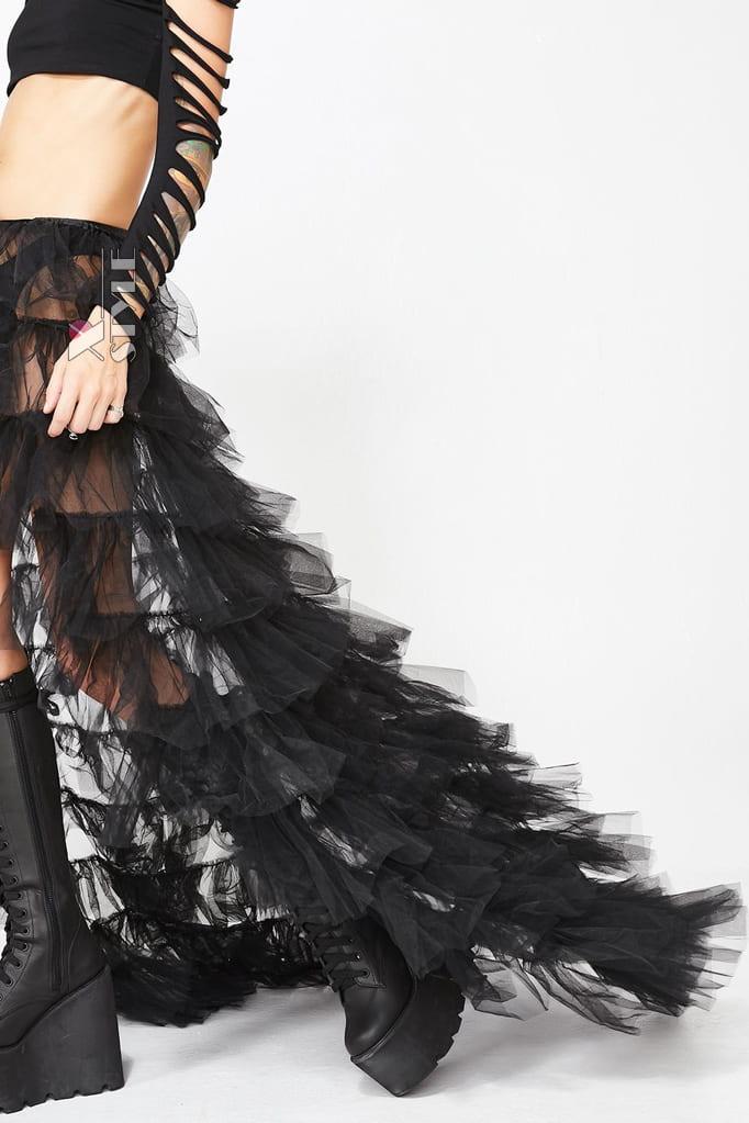 Длинная многослойная юбка-шлейф X206, 5