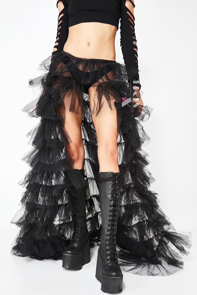 Длинная многослойная юбка-шлейф X206