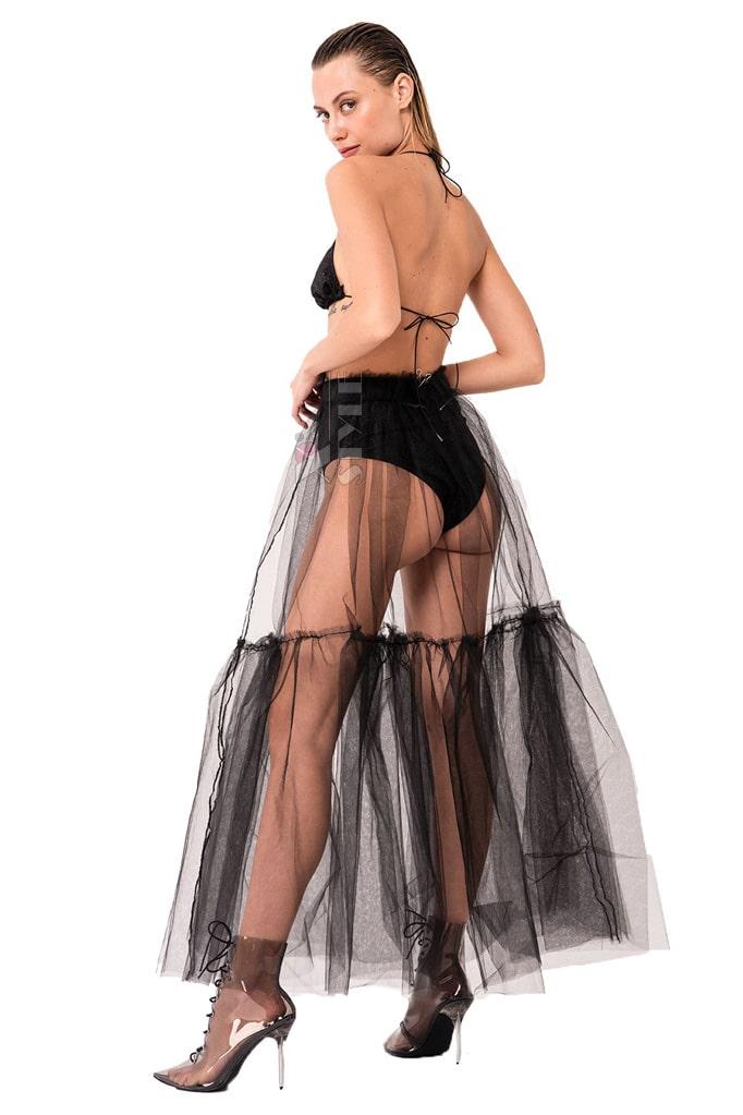 Прозрачная длинная юбка в фестивальном стиле, 5