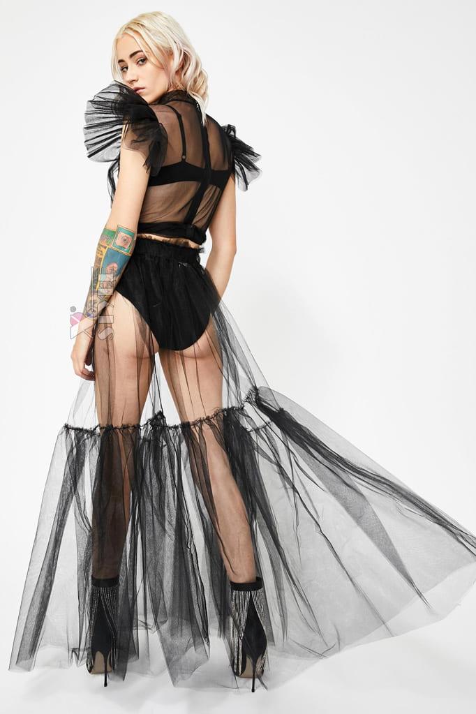 Прозрачная длинная юбка в фестивальном стиле, 7