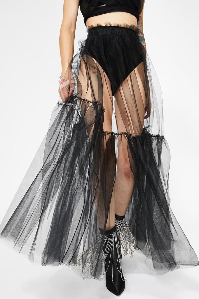 Прозрачная длинная юбка в фестивальном стиле, 3