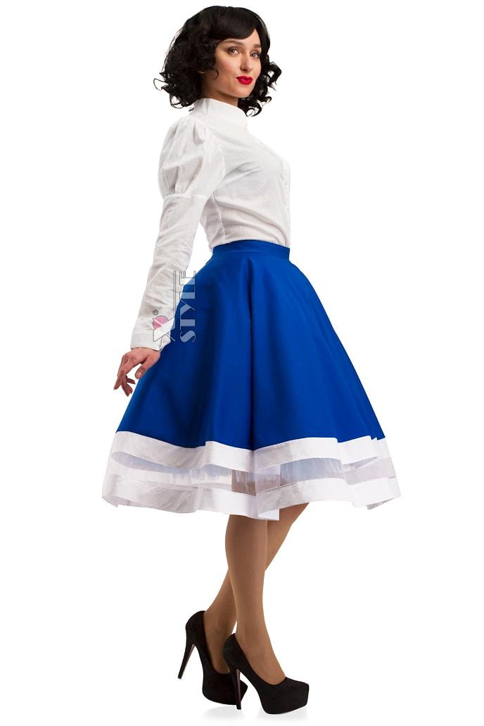 Винтажная синяя юбка X7161, 5