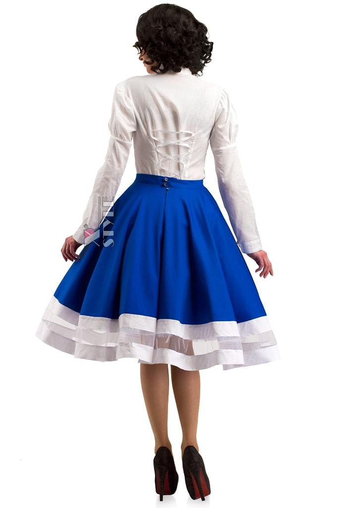 Винтажная синяя юбка X7161, 3