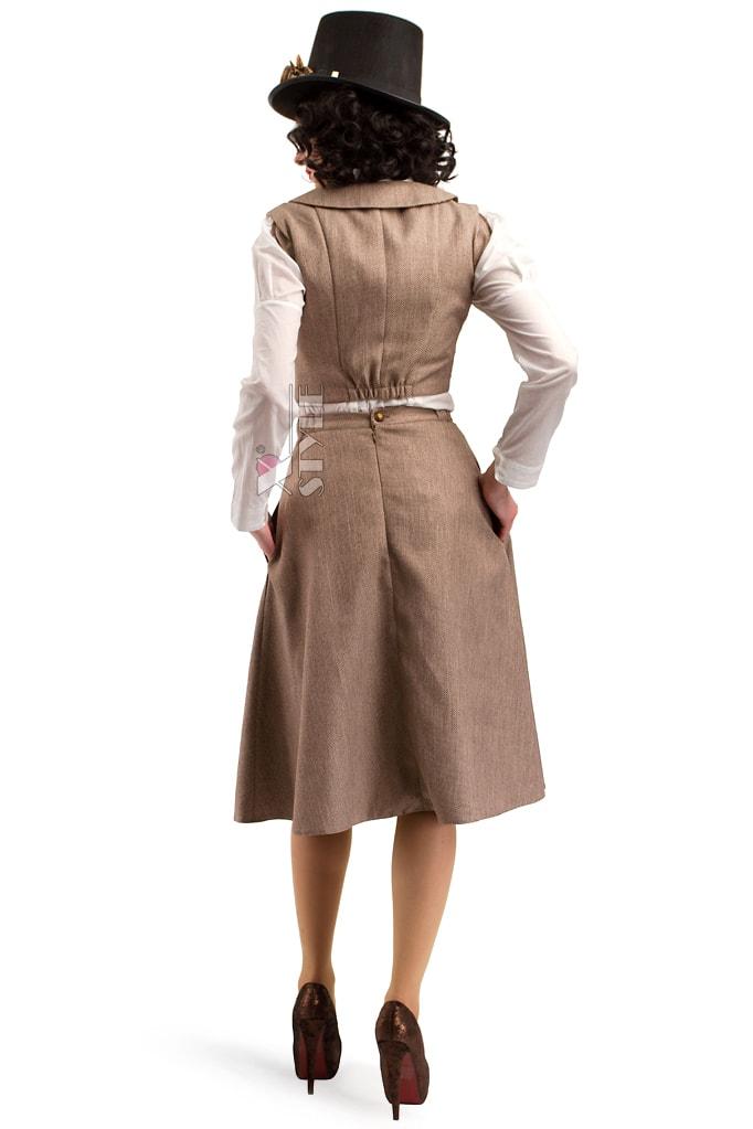 Костюм Стимпанк (жилетка, юбка, шляпа, очки, чехол с часами), 3