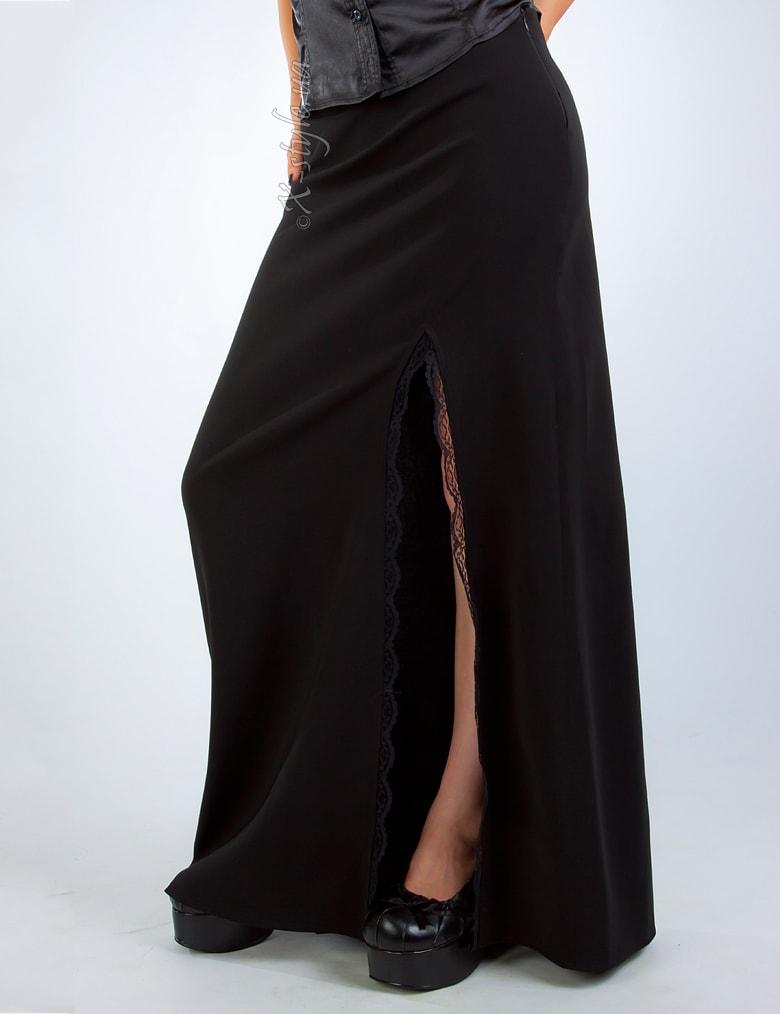 Длинная юбка с разрезом и кружевом, 3